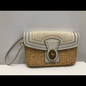 Coach Summer leather and straw Wristlet/ Clutch
